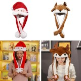 Christmas Hats Led Light Moving Ears Cute Deer Toy Hat Airbag Santa Claus Cap Xmas Gift Cap Child Plush Toy Xmas Led Light Cap