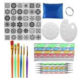 58 Pcs/set DIY Mandala Dotting Tools Set For Painting Rocks Dot Kit Rock Stone Painting Pen Polka Dot Art Tool Template Cosmetic