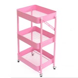 3 Tier Rolling Storage Cart Trolley Cart Rolling Storage Rack Holders Foldable