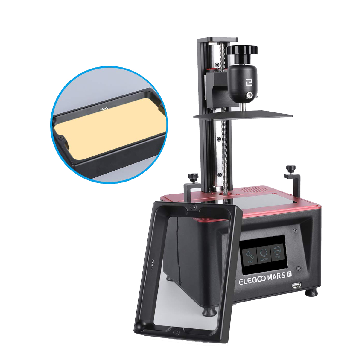 ELEGOO Mars Pro UV Photocuring LCD 3D Printer 4.53in(L) x 2.56in(W) x 5.9in(H) Printing Size with Matrix UV LED Light Source/Built-in Activated Carbon/Off-Line Print