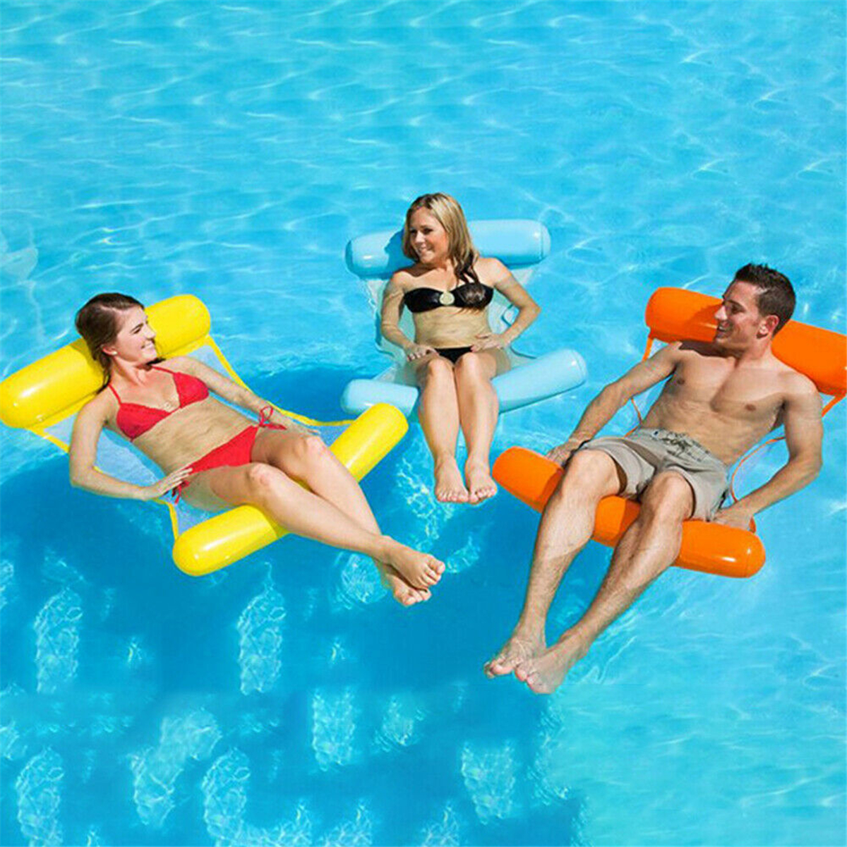 Clip Net Hammock Foldable Inflatable Backrest Floating Bed Row Water Play Lounge Chair