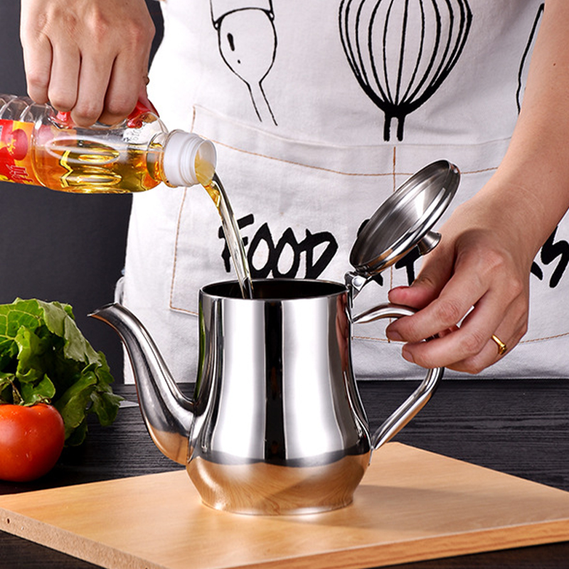 Stainless Steel Oil Strainer Filter Pot Oil Container Cup Jug Storage Filter Can for Kitchen Household Grease Separator Tools