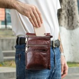 Men Genuine Leather Retro Casual Outdoor Multi-carry Phone Bag Crossbody Bag Waist Bag For 5.8 Inch Phone