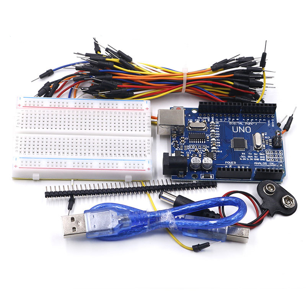 Starter Kit for Arduino Uno R3 Bundle of 5 Items Uno R3 Breadboard Jumper Wires USB Cable and 9V Battery Connector