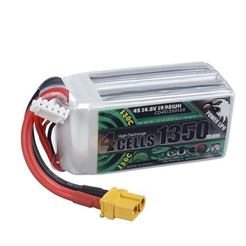 CODDAR 14.8V 1350mAh 130C 4S XT60 Plug Lipo Battery for RC Drone