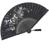 Floral Mini Folding Fan 8.27″ Handheld Chinese Silk Fabric Vintage Retro Grassflowers Hand Fans for Outdoor Travel Wedding Dancing with a Fabric Sleeve for Protection for Gifts