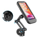 Adjustable Waterproof Bicycle Phone Holder Universal Bike Motorcycle Handlebar Cell Phone Support Mount Bracket for Up to 6.5″ Phone