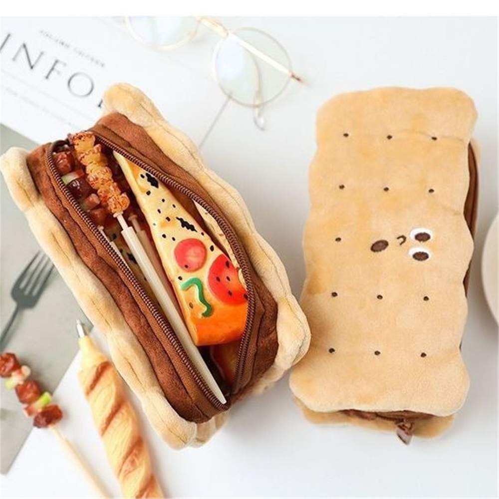 Soft Plush Pencil Case Cookie Shape Large Capacity Storage Bag Kids Creative Birthday Gift School Stationery Supplies