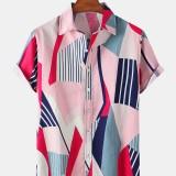 Mens Irregular Geometry Graphics Print Short Sleeve Casual Shirts