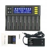 LiitoKala Lii-S8 8 Slots LCD Display 9V Quick Charger Smart Battery Charger for Li-ion LiFePO4 Ni-MH Ni-Cd 9V 21700 20700 26650 18650 RCR123 18700