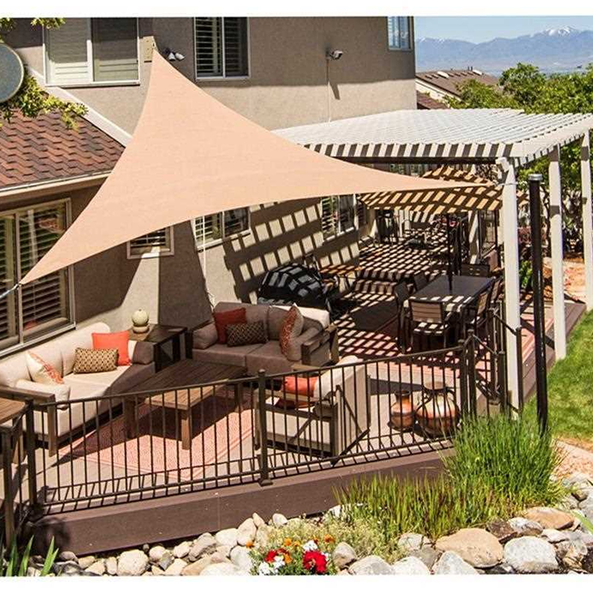 Sun Shade Sail Waterproof 420D Oxford Polyester Canopy Cover Awning Outdoor Anti-UV Protection