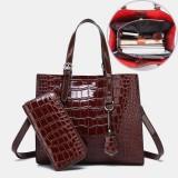 Women 2PCS Alligator PU Multi-pocket Large Capacity Handbag Crossbody Bag Tote