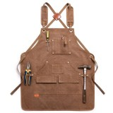 Durable Work Apron Heavy Duty Waxed Unisex Canvas Work Apron with Tool Pockets Cross-Back Straps Adjustable For Woodworking Painting