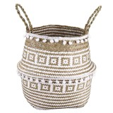 Seagrass Woven Storage Basket Plant Wicker Hanging Baskets Garden Flower Vase Potted Foldable Pot with Handle & Small Ball