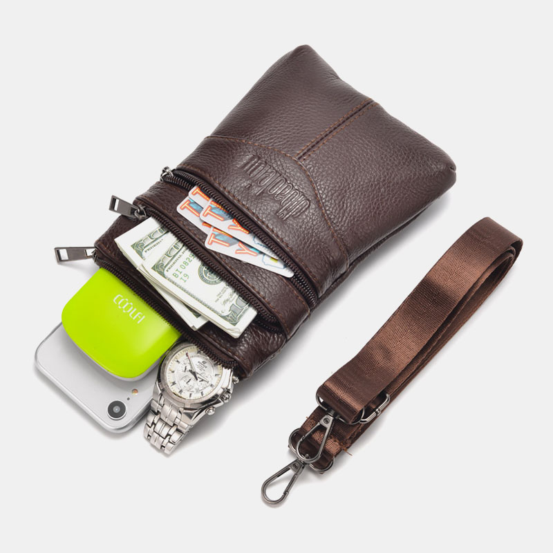 Men Genuine Leather Retro Business Casual 6.3 Inch Phone Bag Multi-carry Crossbody Bag Waist Bag