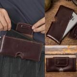 Men Handmade Genuine Leather Belt Carry 6.3 Inch Phone Bag Solid Color Daily Casual Belt Bag Waist Bag