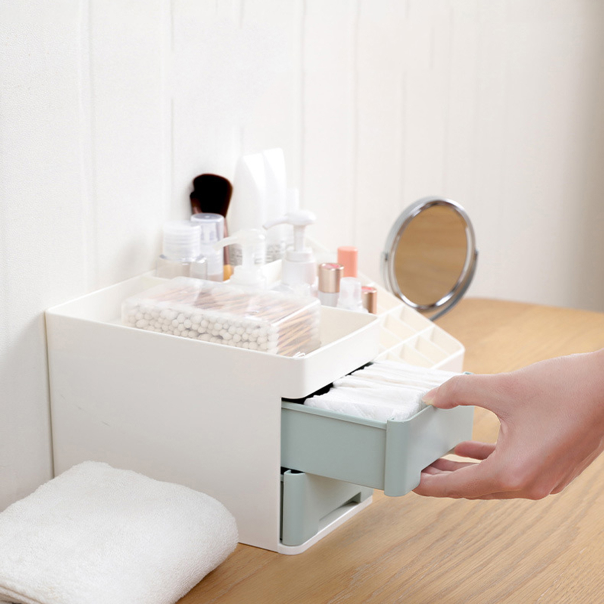 Cosmetics Storage Box Drawer Makeup Holder Organizer Desktop Dressing Table Nail Polish Lipstick Storage Box Jewelry Case