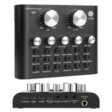 Bakeey V8 Live Sound Card Audio External USB Headset Multi-Function Microphone Live Broadcast Computer PC Sound Card