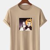 Mens 100% Cotton Halloween Cartoon Panda Print Crew Neck Short Sleeve T-Shirts