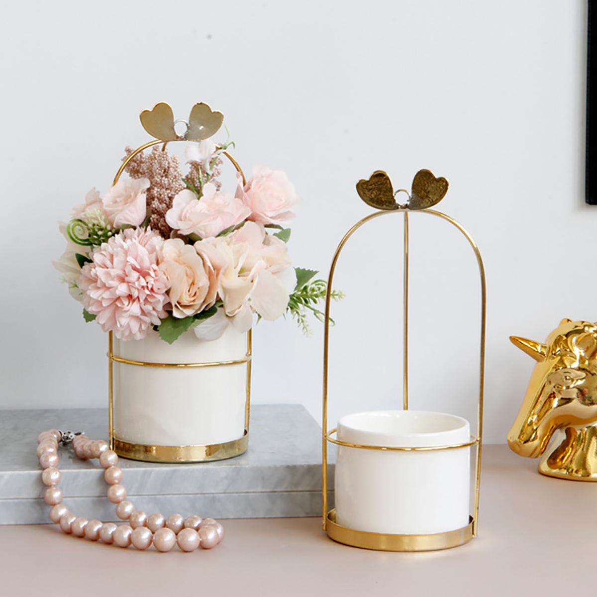 Nordic Vase Hanging Basket Wrought Iron Flower Pot Hanging Iron Frame Flower Stand Hydroponic Flower Pot Modern Wall Decoration Decoration