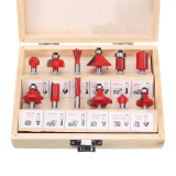 Drillpro 12pcs 1/4 Inch Shank Router Bit Set Carbide Rotary Wood Cutter Milling Cutter Woodworking Trimming Engraving Carving Cutting Tools
