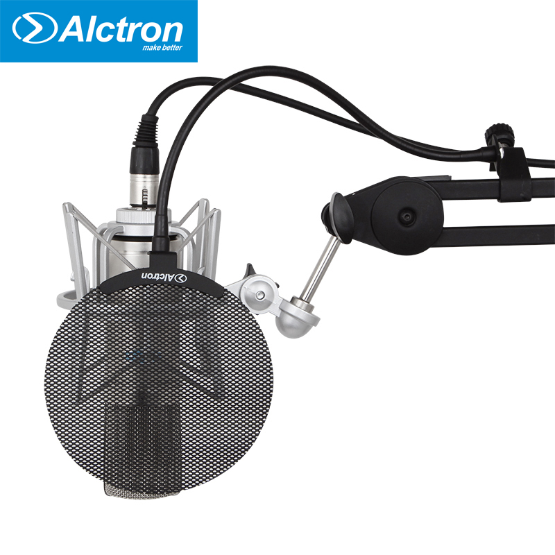 Alctron MA019B Filter Dual Layered Wind Screen With Enhanced Flexible Gooseneck Clip Stabilization Arm