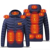 TENGOO 11 Areas Heating Jacket Men 3-Modes Adjust Electric Heated Coat Thermal Hoodie Jacket For Winter Sport Skiing Cycling