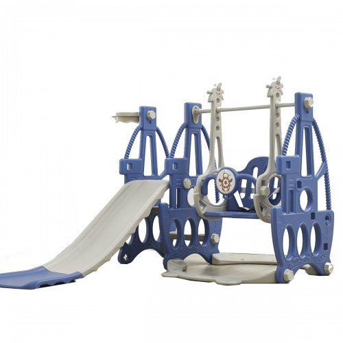 3-in-1 Children's Slide + Swing + Basketball Kids Play Ground Combination Baby Playset Music Basketball Frame Hoop Kit