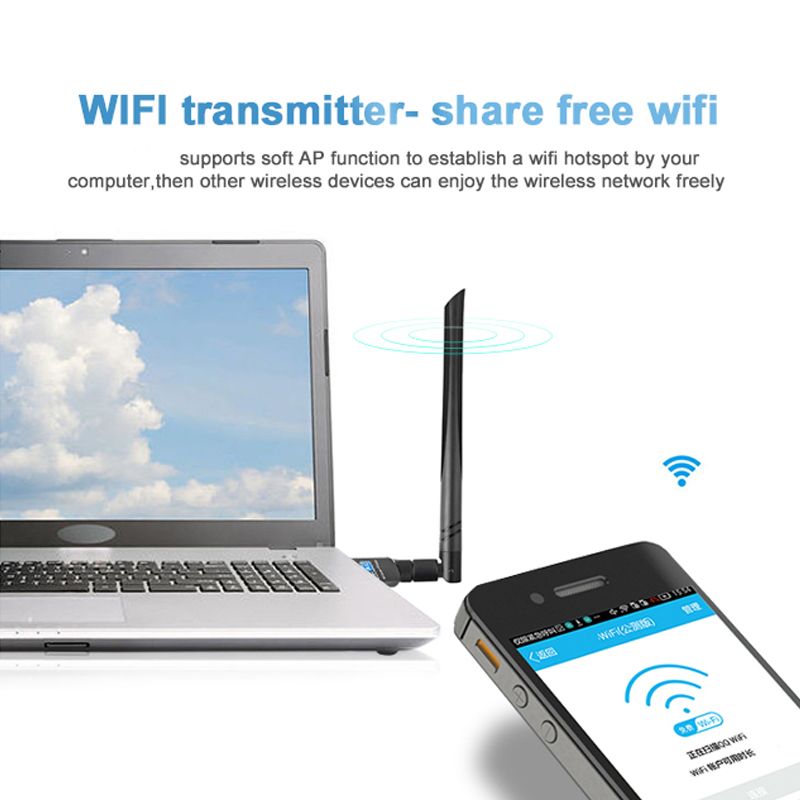 Bakeey Wireless Network Adapter 600Mbps USB Wifi Adapter Dual Band 2.4Ghz 5Ghz Wifi Antenna Dongle LAN Adapter For Windows Laptop PC