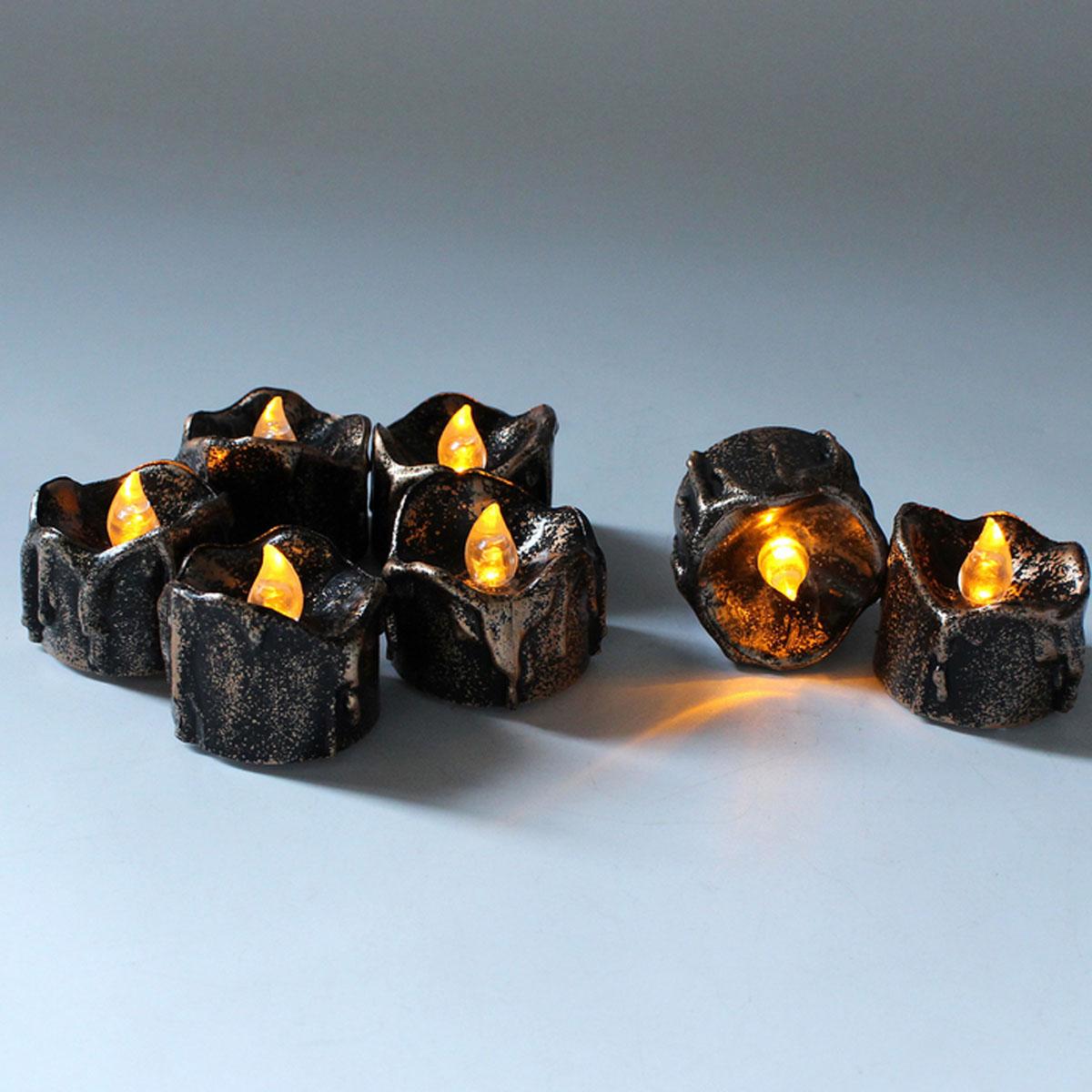 12PCS Battery Operated LED Flameless Candles Light Halloween Christmas Decorative Tea Lamps