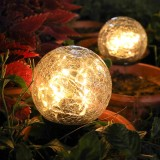LED Solar Powered Crack ball Ground Light Garden Yard Lawn Lamp Waterproof Outdoor Decoration