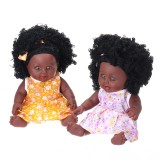 12Inch Simulation Soft Silicone Vinyl PVC Black Baby Fashion Doll Rotate 360 African Girl Perfect Reborn Doll Toy for Birthday Gift