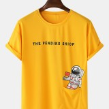 Space Astronaut Print Cotton Patch Pocket Round Neck Casual Short Sleeve T-Shirts