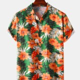 Hawaii Casual Style Floral Print Lapel Collar Short Sleeve Cotton Shirts
