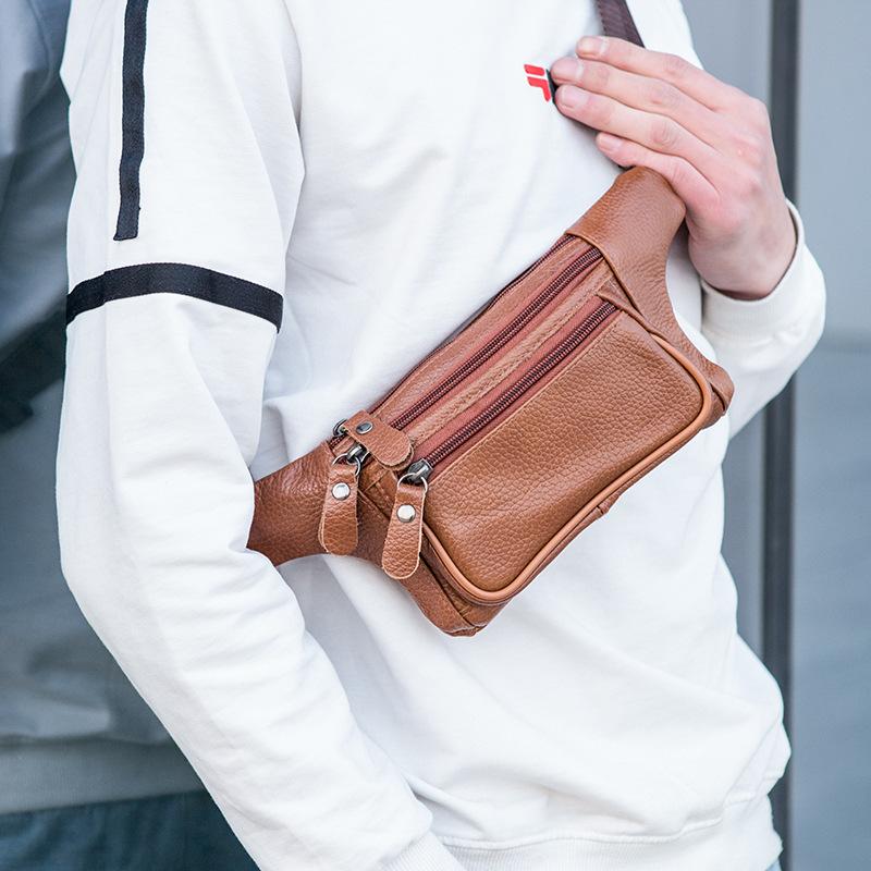 Men Genuine Leather Three-layer Waterproof Large-capacity Multifunctional Crossbody Bag Chest Bag Sling Bag