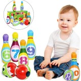 12 Pcs Kids Colorful 10 Bowling Pins 2 Bowling Balls Outdoor Indoor Family Sport Game