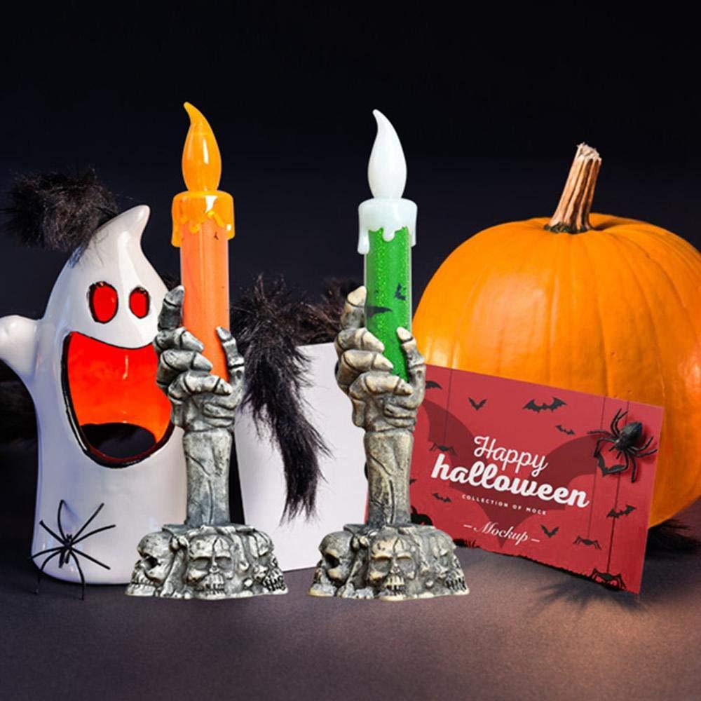 Halloween Light Flameless Plastic Candles Halloween Decoration Props Ghost Light