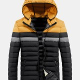 Mens Multi Color Patchwork Thicken Long Sleeve Casual Hooded Coats With Pocket