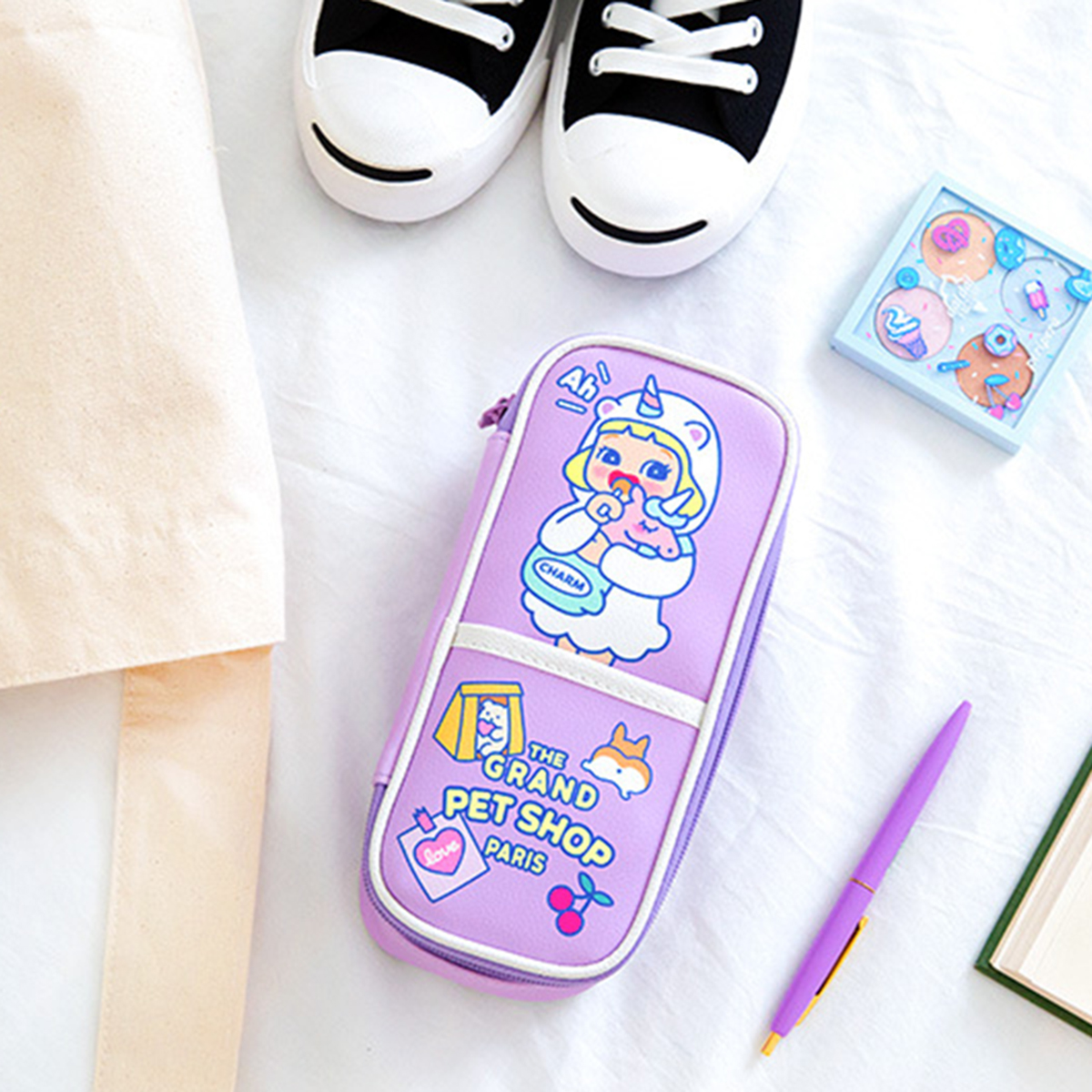 Bentoy QT3282 Large Capacity Pencil Case Cute Cartoon Pencil Bag with Partition Stationery Gift for Children Students