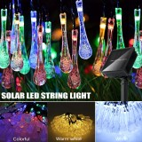 32FT 10M 100LED Solar Water Drop Fairy String Light Outdoor Garden Party Christmas Lawn Lamp Decor