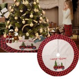 120cm Linen Lattice 2020 Christmas Tree Skirt Aprons New Year Xmas Tree Carpet Foot Cover for Merry Christmas Decoration