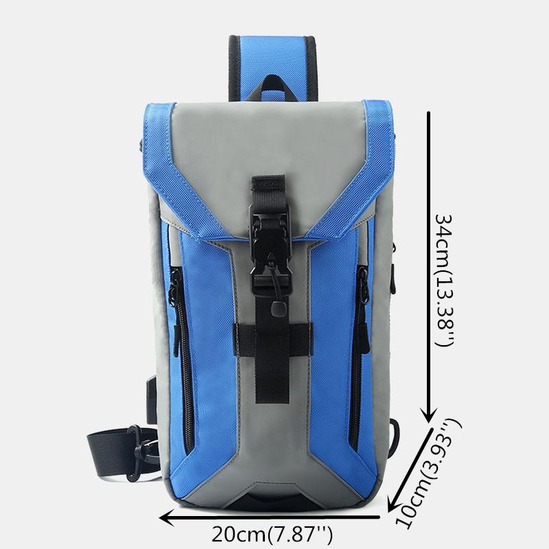 Men Oxford USB Charging Multi-pocket 3 Card Slots Waterproof Outdoor Crossbody Bag Chest Bag Sling Bag
