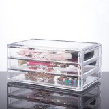 Transparent Cosmetics Storage Box Desktop Drawer Makeup Organizer 3 Layers Jewelry Storage Box Dustproof