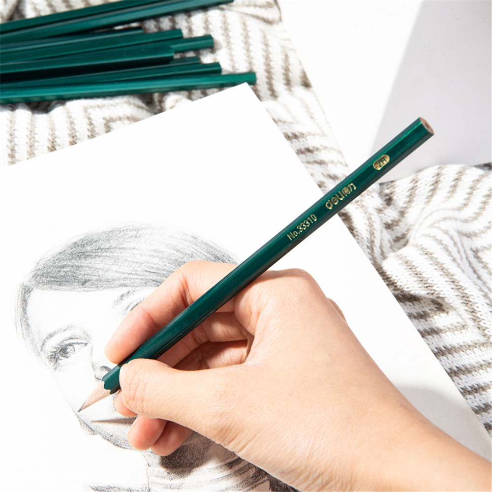 Deli 33310/33311/33312 Mechanical Pencils Wooden HB 2H 2B Drawing Pencil Stationery School Students Art Supplies
