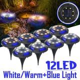 12LED Solar Ground Light Blue+White/Blue+Warm White Pathway Patio Garden Lawn Lamp Outdoor Decking Lighting