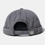 Unisex Cotton Retro Solid Hip-hop Style Street Trend Brimless Beanie Landlord Hat Skull Hat