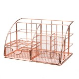 Multifunctional Desktop Storage Basket Fashion Desktop Metal Storage Box Mesh Organizer Desk Pencil Storage Box