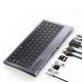 SAMZHE USB-C Keyboard Hub Docking Station Adapter With 4K HDMI HD Display / 1080P VGA / 87W USB-C PD / USB-C Data Transmission / 1000M RJ45 Ethernet Port / 3.5mm Audio Jack / 3 * USB 3.0