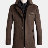 Mens Single-Breasted Business Mid-Length Woolen Trench Coats With Detachable Vest