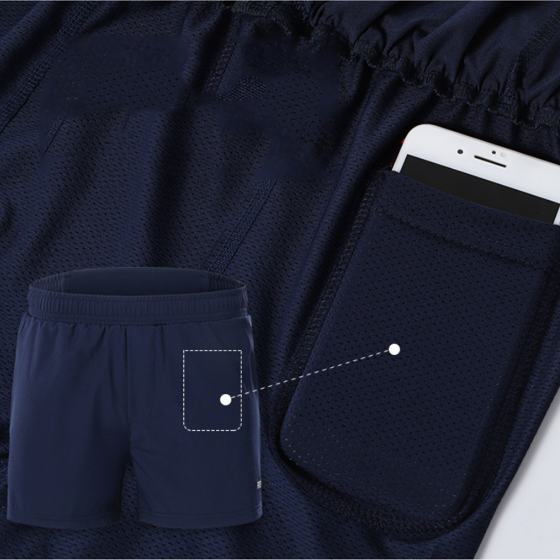 ARSUXEO 2-in-1 Men's Running Shorts with Waist Rope Quick Dry Zipper Pocket Sports Fitness Gym Shorts